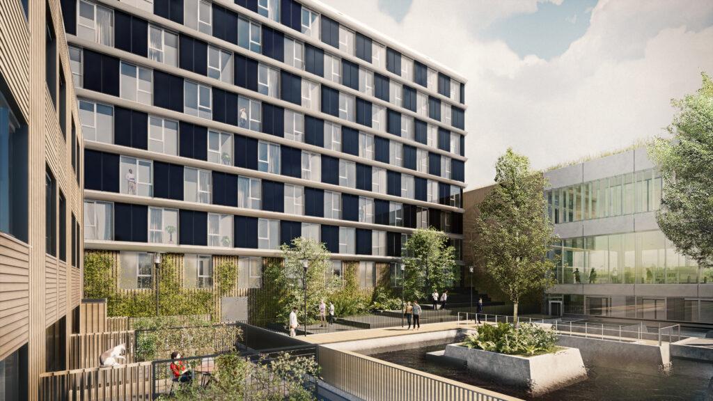 In Maaswaard Venlo ontwikkelen Camelot Vastgoed Nederland en Janssen de Jong Projectontwikkeling een circulair woongebouw met 95 appartementen en 5 stadswoningen.